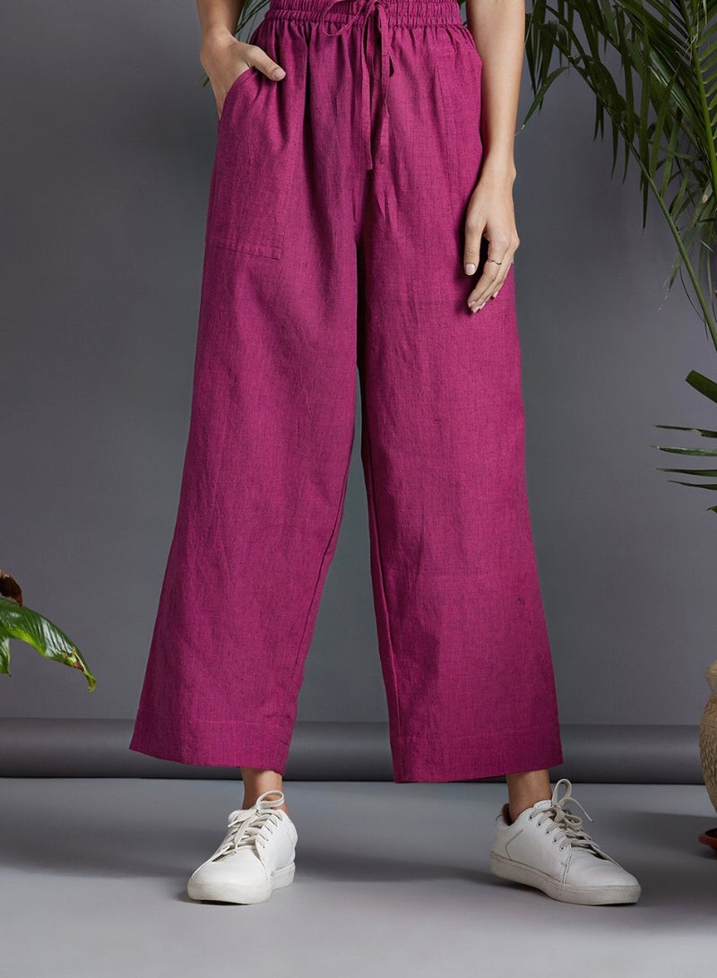 ELASTICATED MANGALGIRI PANTS - Purple & black criss cross