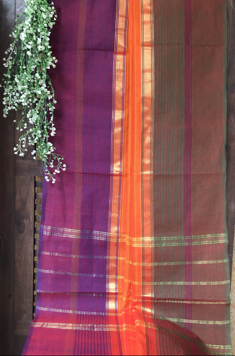 chettinad cotton saree - tangerine & dhoop chaav border