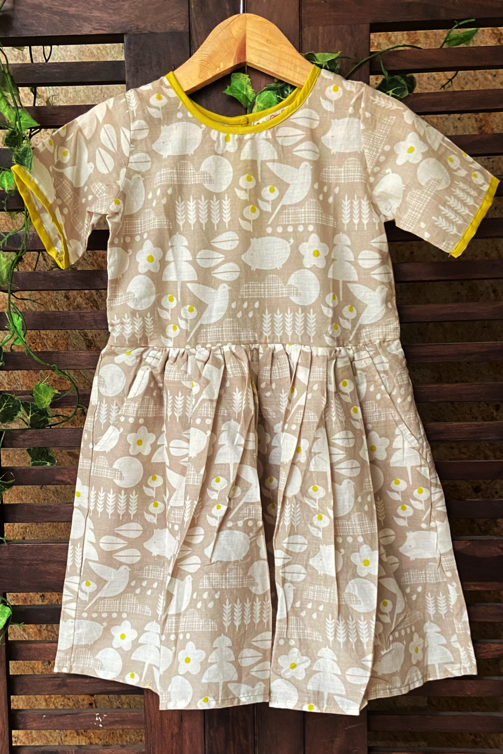 kidswear - grey yellow piping frock