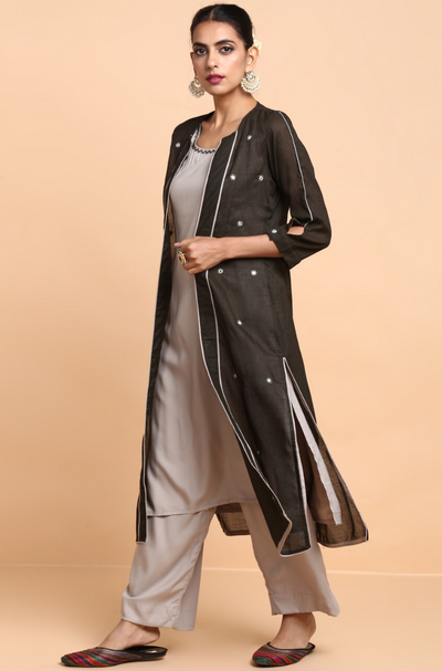 co-ord - pants + sleeveless kurta + jacket - pearl grey & midnight sky