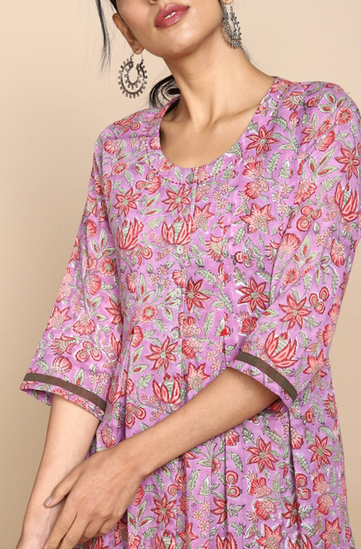 Soft cotton pink flowers hand block printed jacket with buttons and green gather dress inner
