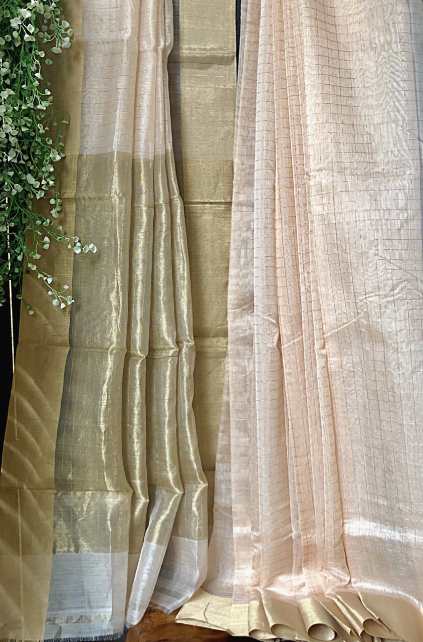 handwoven chanderi saree - peach sorbet & gold checks
