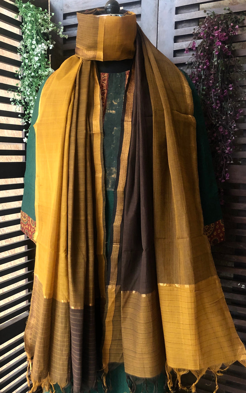 handloom cotton dupatta - ochre brown & gold rush