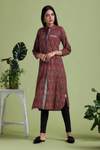 shirt dress - terracotta red & calla lily