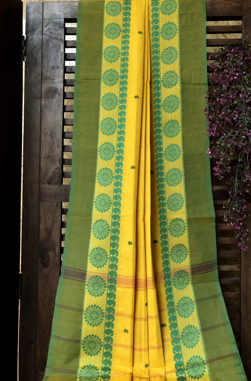 chettinad cotton saree - lemon yellow & green paisley buta