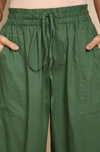ELASTICATED CAMBRIC PANTS - DARK GREEN