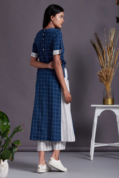 co-ord set: long tunic with side tie up & culottes - marine blue & checkers