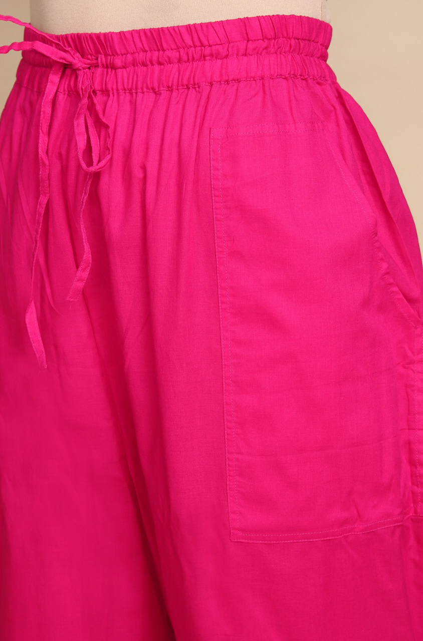 ELASTICATED CAMBRIC PANTS - RANI PINK
