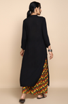 Black crush cotton kurta with  pop potli buttons paired with yellow red ajrakh geometrical printed  palazzos