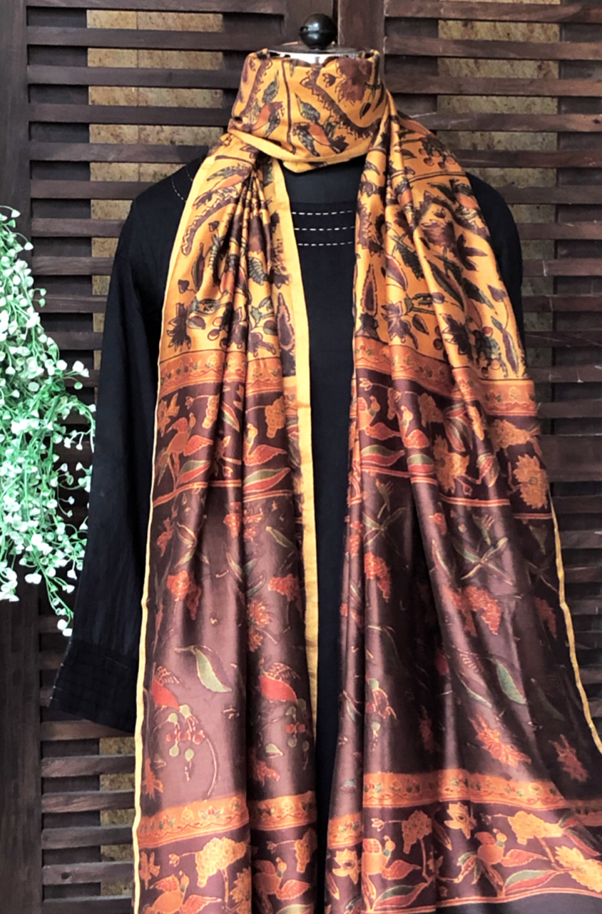 abstract ajrakh dupatta - vintage gold & peacocks