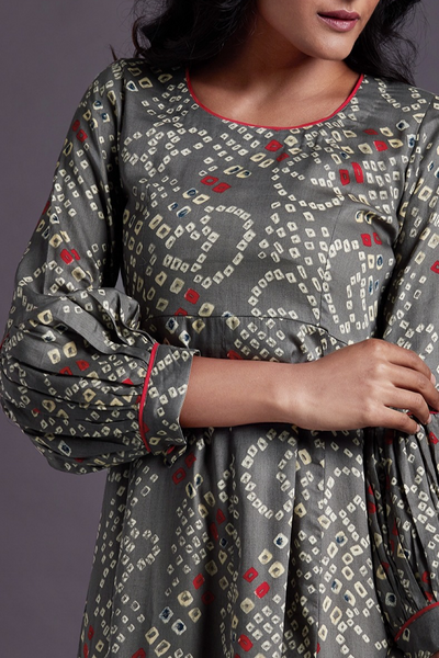 midi dress - grizzle grey & bandhani