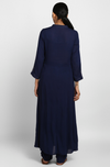 stand collar kurta with pants  - midnight blue & threads of gold