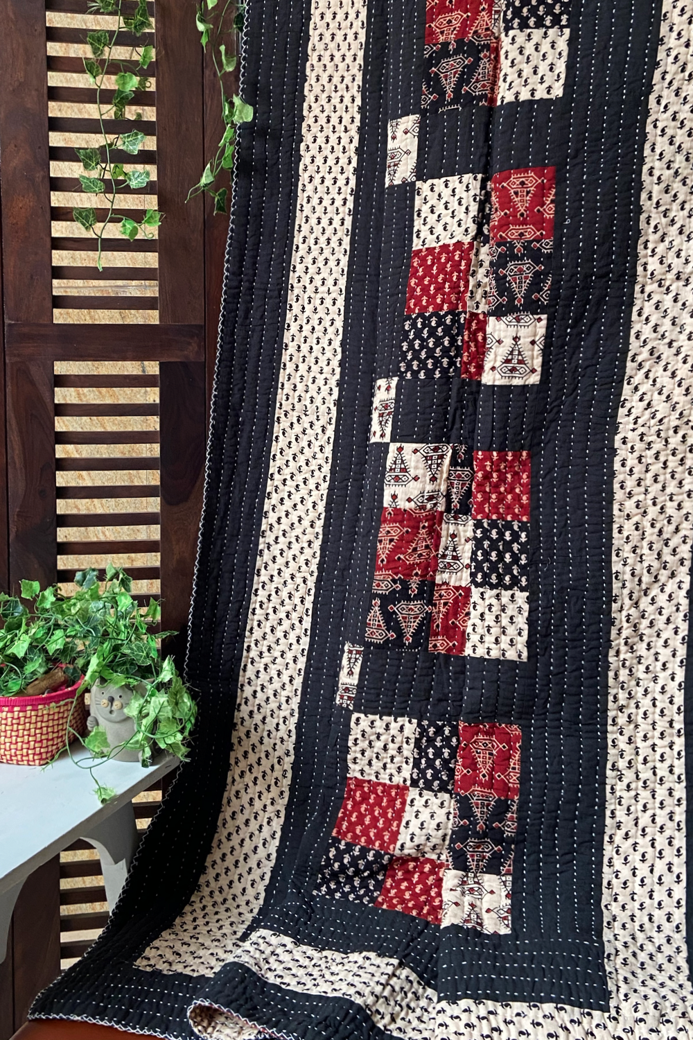 handcrafted single quilt with filler - monochrome melodies & madder drops
