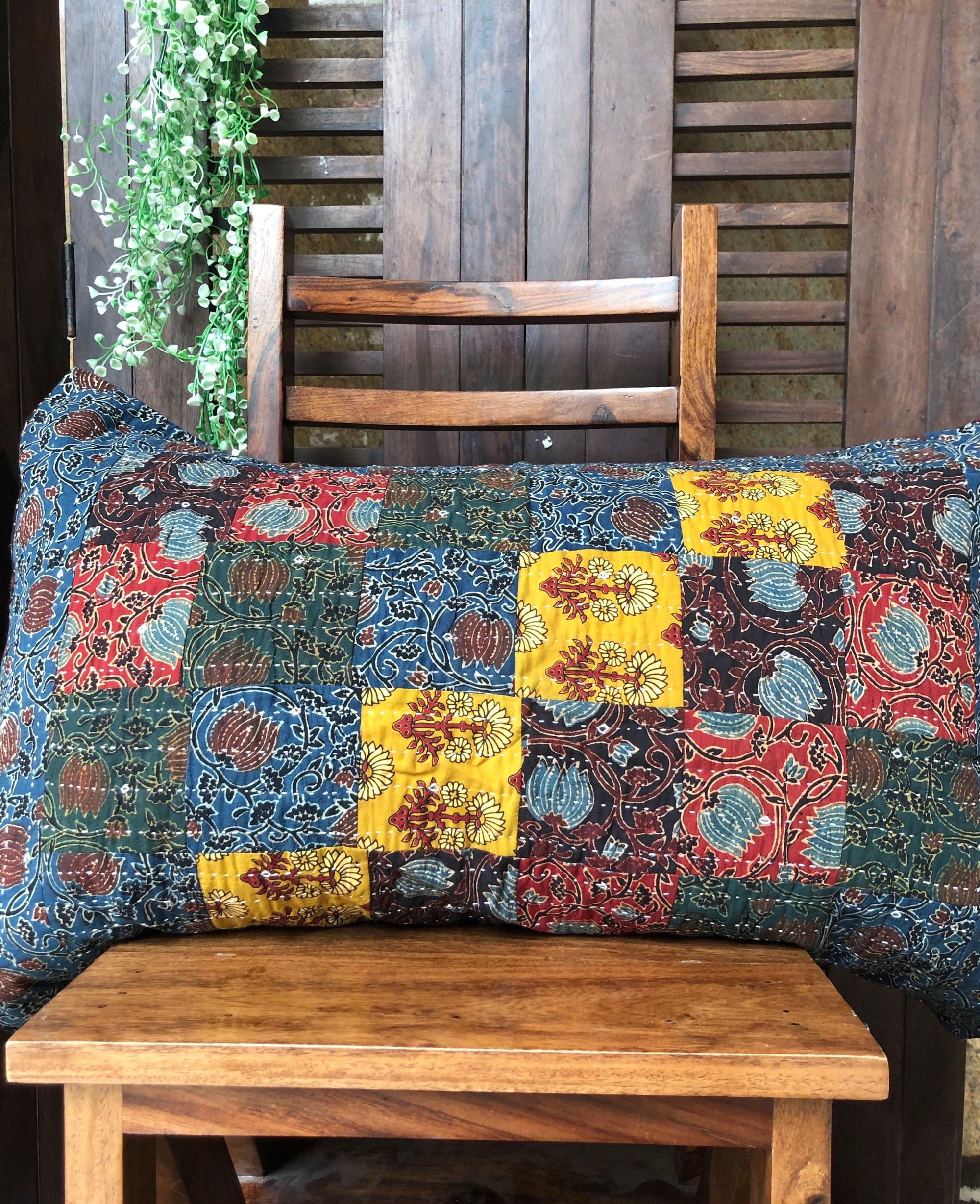 patchwork pillow case - set of 2 - multi checks & phool buta