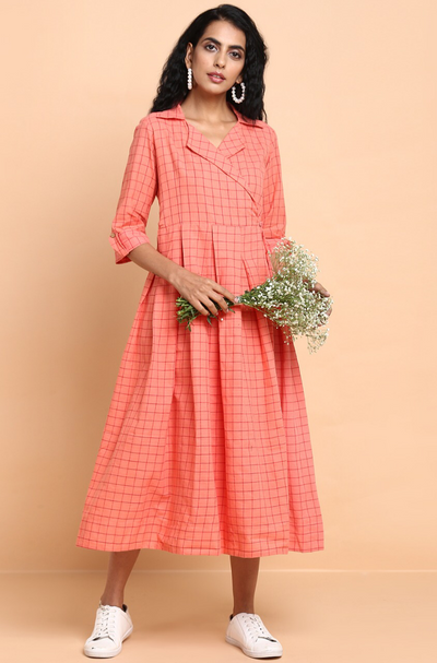 blazer dress - peach blossom & checks