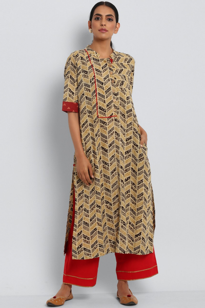 Stand collar kurta in grey ajrakh hand block printed cotton and red trims