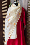 handwoven chanderi dupatta - ivory sheen & fishes
