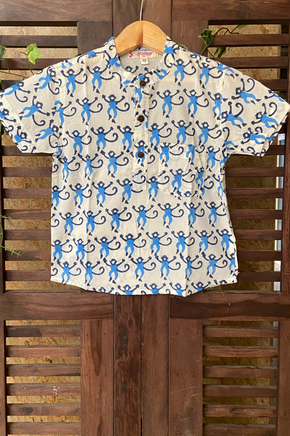 kidswear - monkey print boys shirt