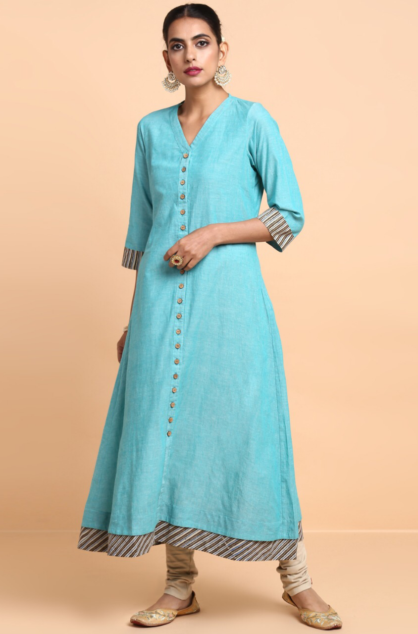 long kurta - ice blue & beige stripes