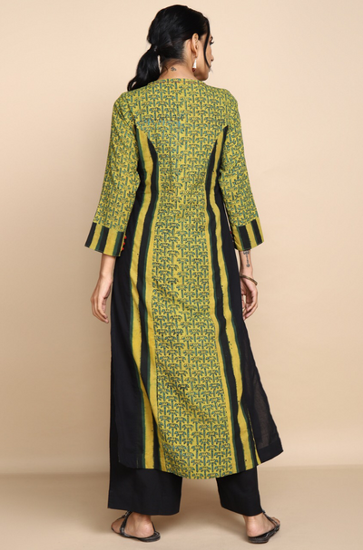 long kurta - pine & kohl stripes