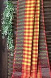 chettinad cotton saree - lime & madder checks