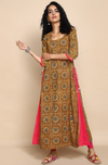 Layered kurta in mustard and indigo ajrakh with side tassels, pink inner layer and dupatta
