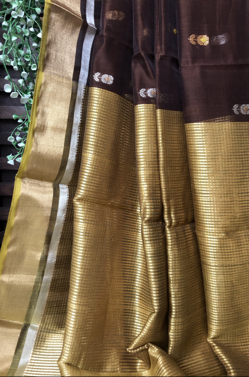 handwoven chanderi saree - umber & gold silver buttis