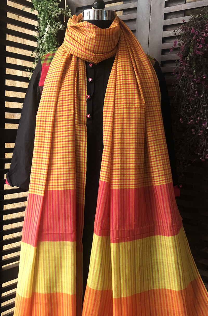 handloom cotton dupatta - sunset sky & multi coloured checks