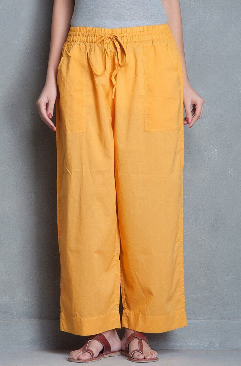 ELASTICATED CAMBRIC PANTS - YELLOW