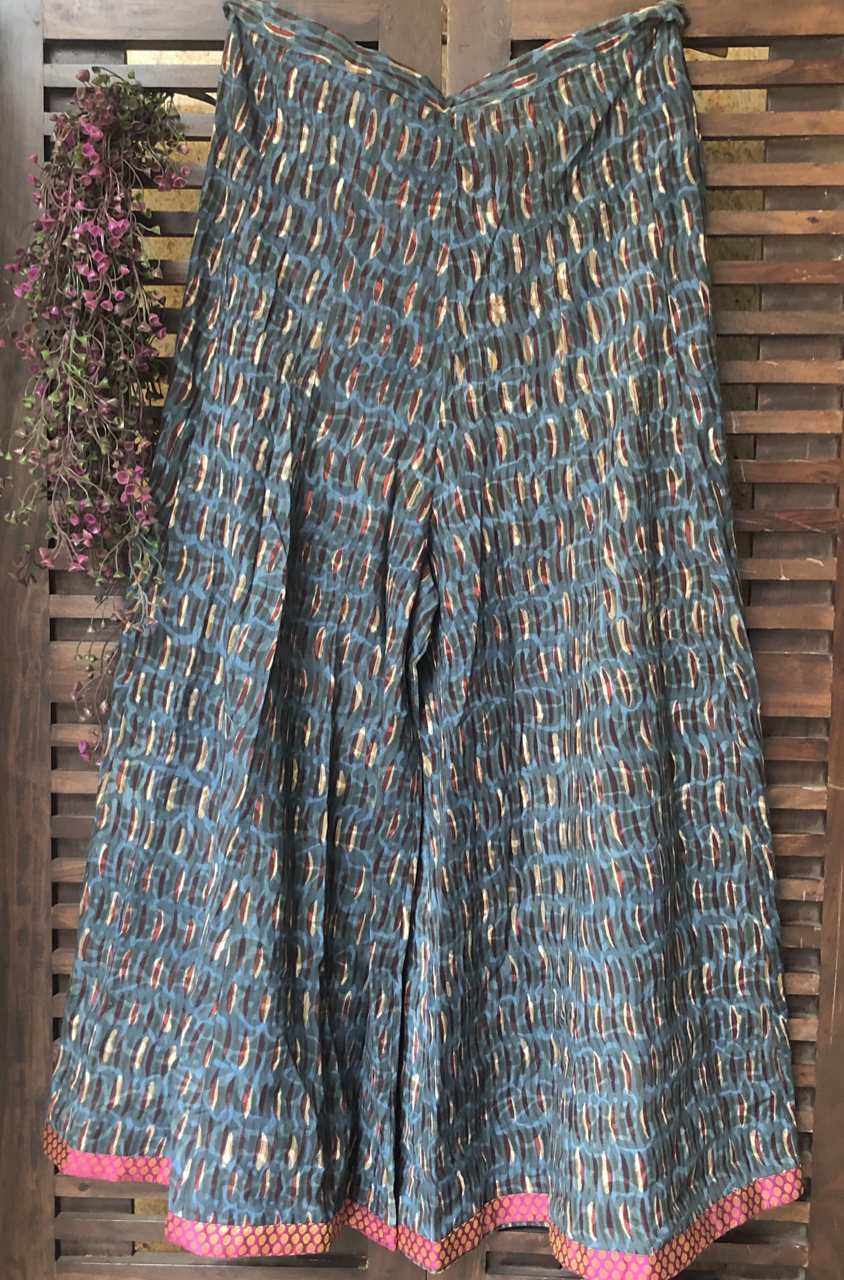 printed sharara - indigo grey & brocade border