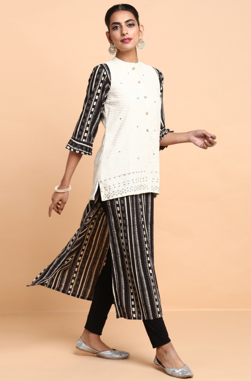 pleated ruffle sleeve kurta with jacket - midnight sky & stars