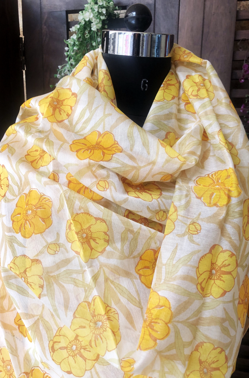 handwoven chanderi dupatta - sunshine & yellow dahlias