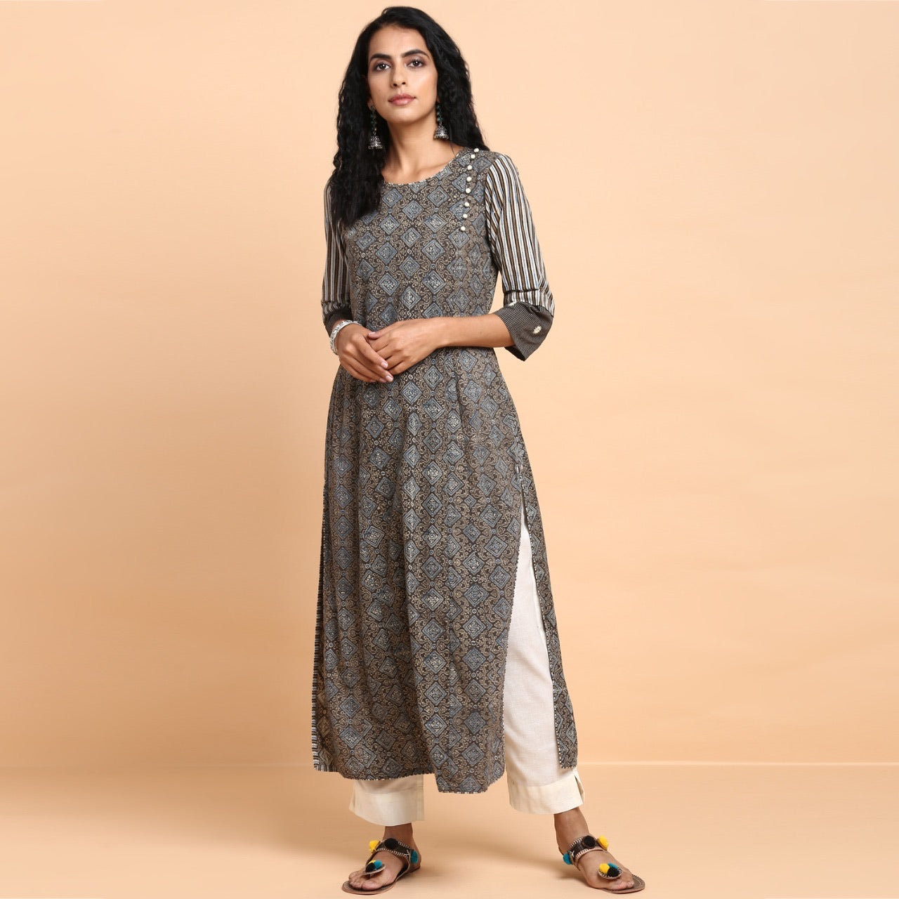 side potli kurta - vintage coffee & indigo