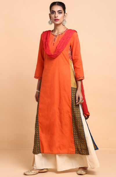 panelled long kurta -  tangerine crush & buttis