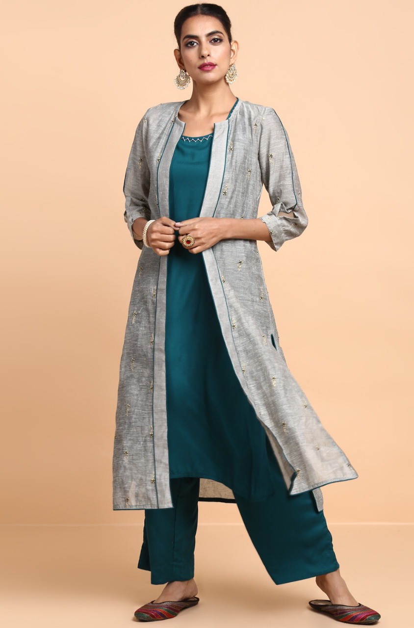 co-ord - pants + sleeveless kurta + jacket - rama green & evening shadow