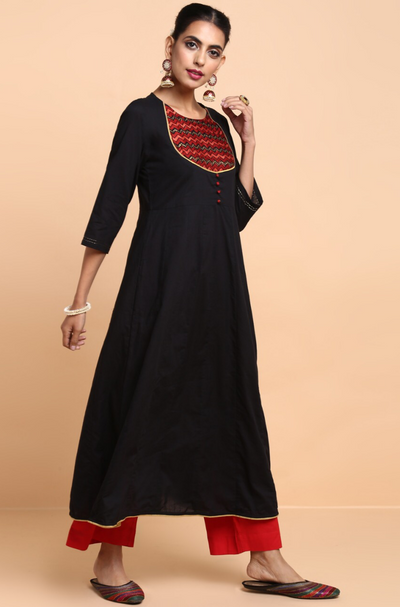 mughal anarkali with yoke - midnight glitters & madder yoke