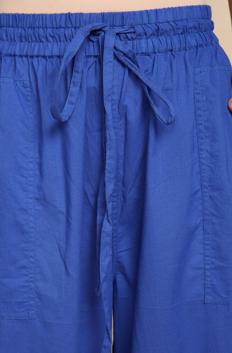 ELASTICATED CAMBRIC PANTS - INK BLUE