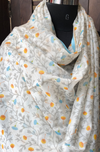 handwoven chanderi dupatta - dainty daisies & dash of grey