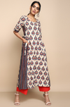 Ajrakh white long tunic kurta with red and indigo motifs and side panel with tie ups and red trouser