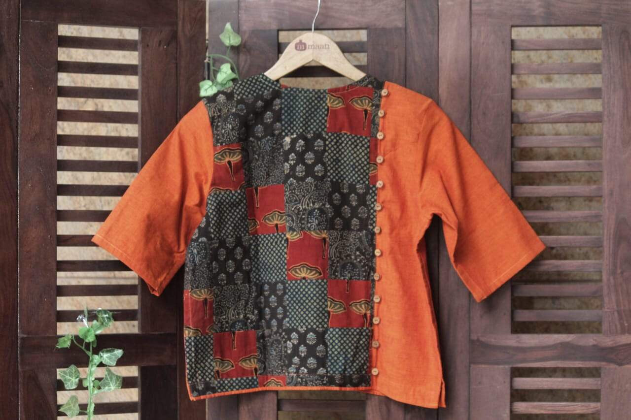 BLOUSE - PATCHWORK ORANGE & RED BROWN MOSAIC