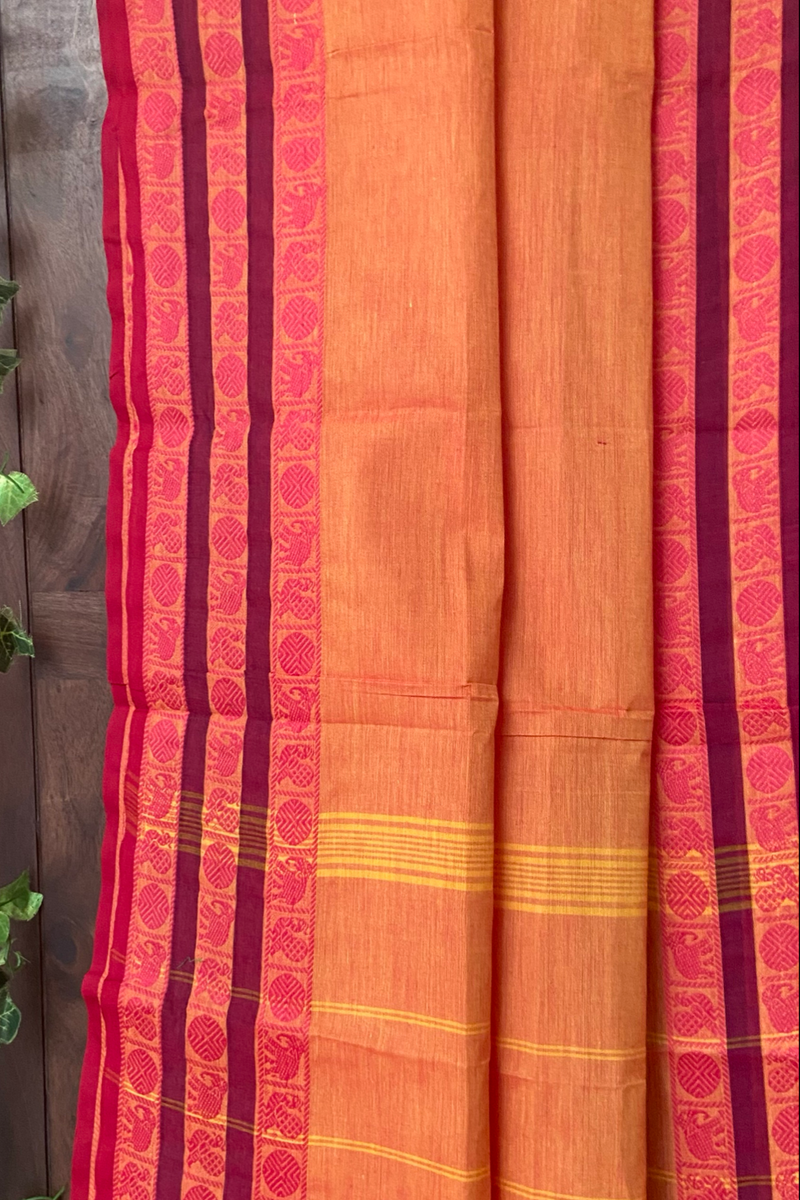 chettinad cotton saree - orange peach & peacocks