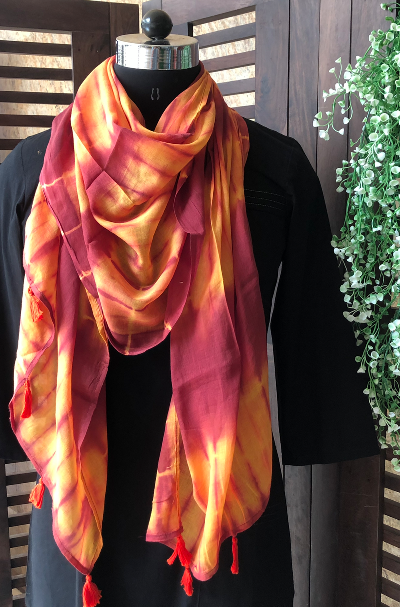 shibori stole - orange & yellow