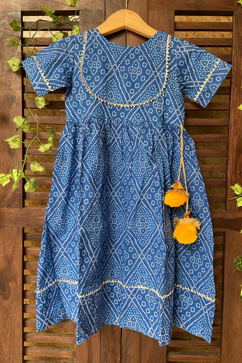 kidswear - blue bandhej gota dress