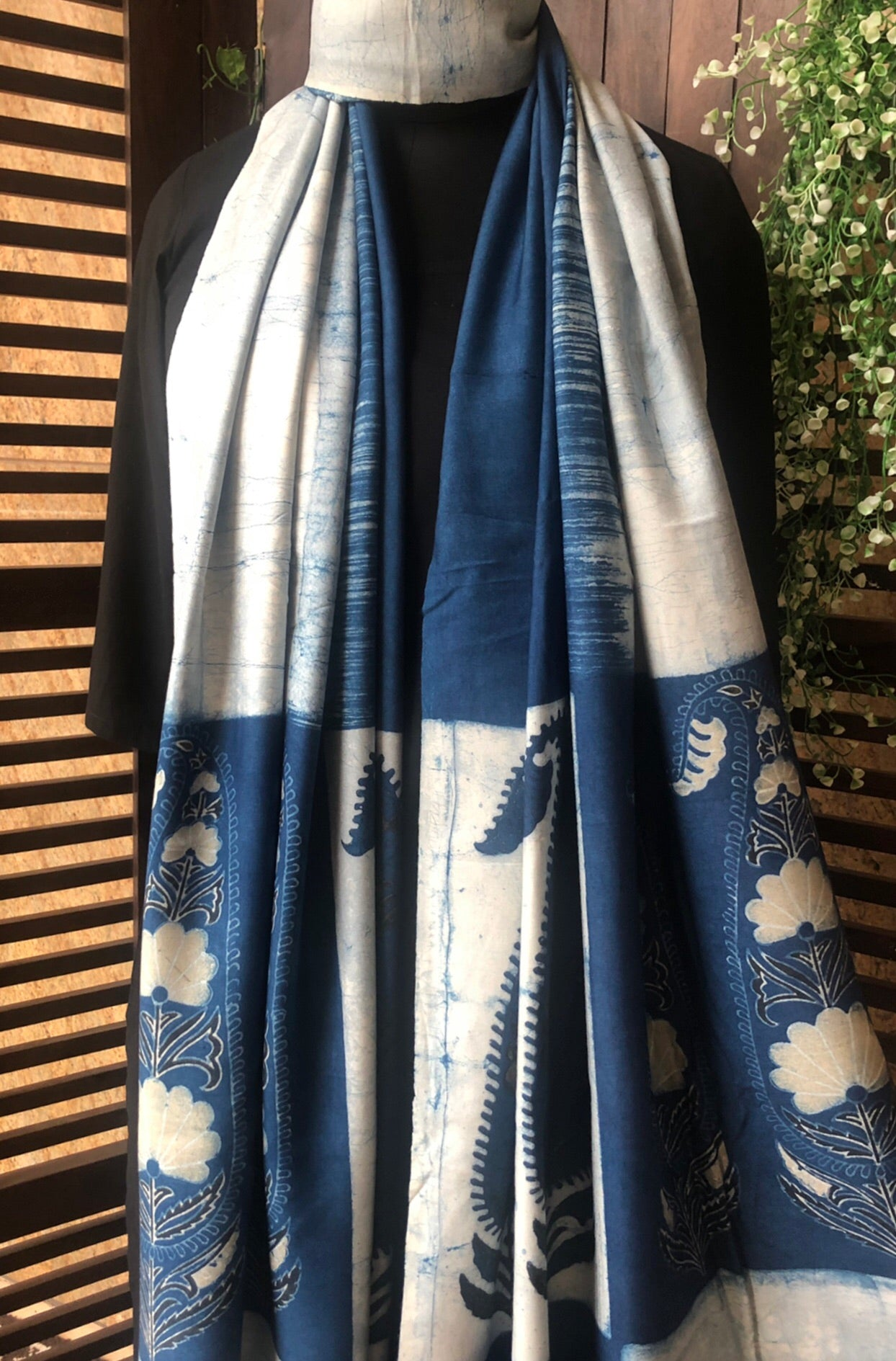 abstract ajrakh dupatta - indigo marble & paisleys