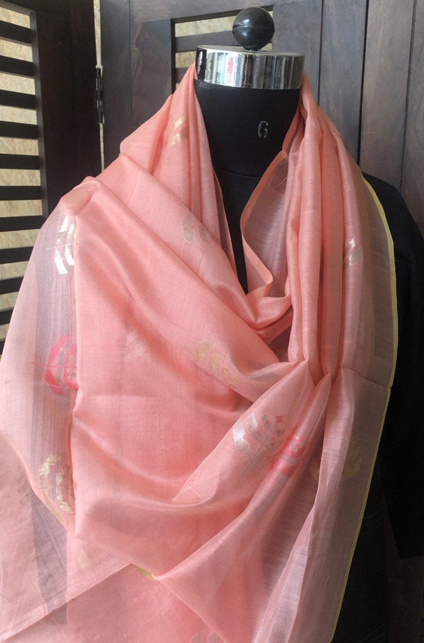 handwoven chanderi dupatta - pink pearls & gold leaves