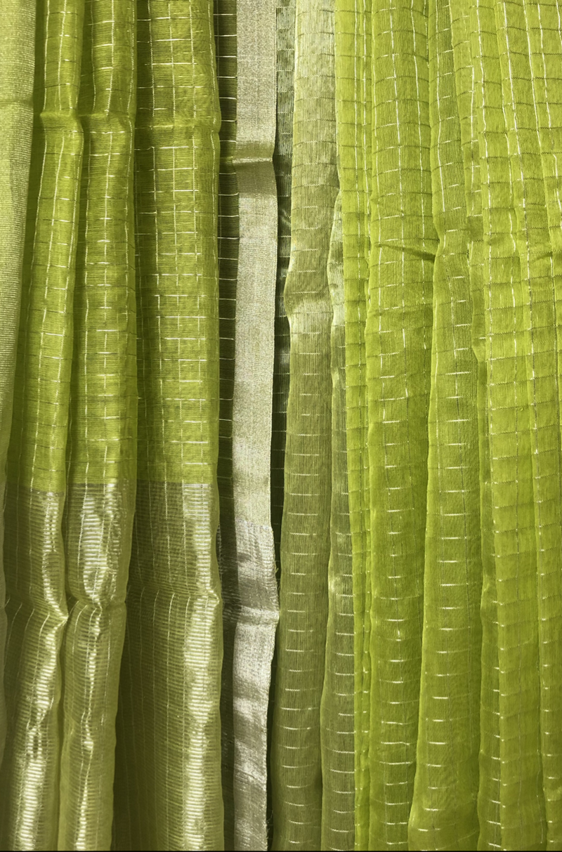 handwoven chanderi saree - lime green & checks of gold