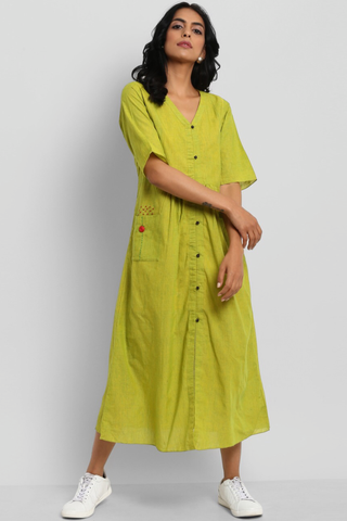 button down dress with patch pocket - lime green & french knot