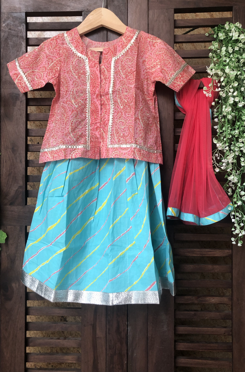kidswear - pink floral top with blue leheriya lehenga & dupatta