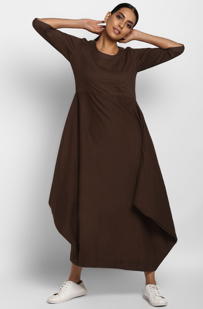 Coffee brown long dress in Cotton with cowls