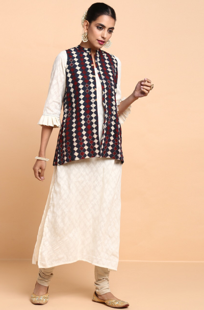pleated ruffle sleeve kurta with jacket - winter mood & vivid indigo